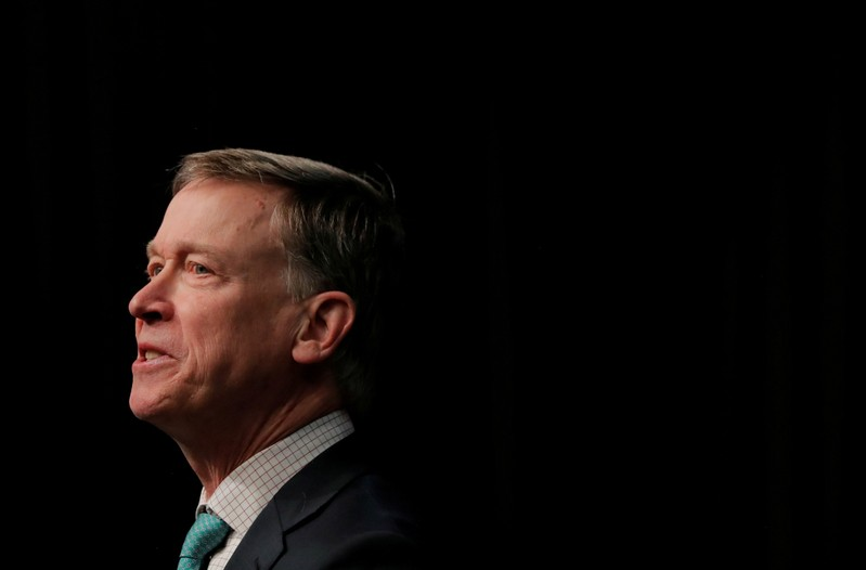 FILE PHOTO: U.S. 2020 Democratic presidential candidate and former Governor of Colorado John Hickenlooper speaks at the 2019 National Action Network National Convention in New York