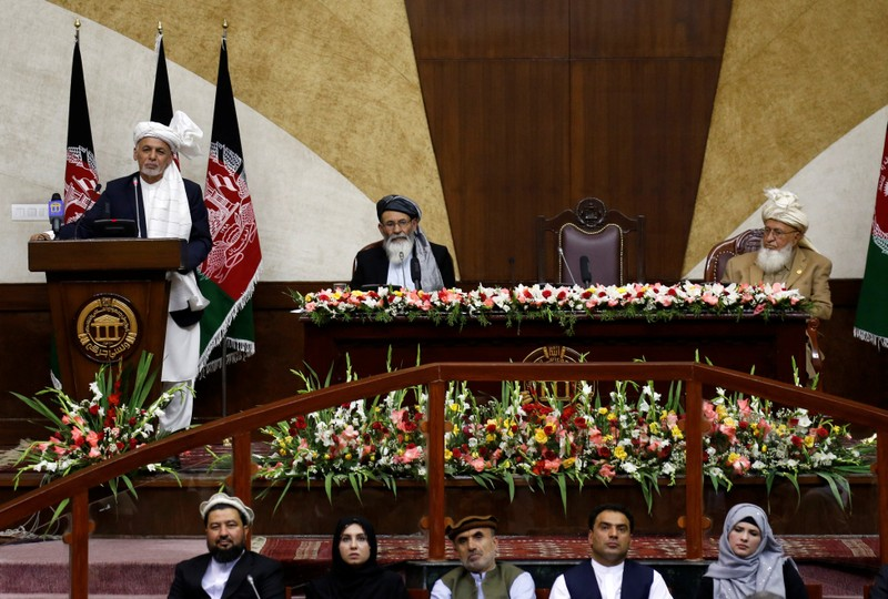 Afghan President Ashraf Ghani speaks during the inauguration of the newly-elected parliament in Kabul