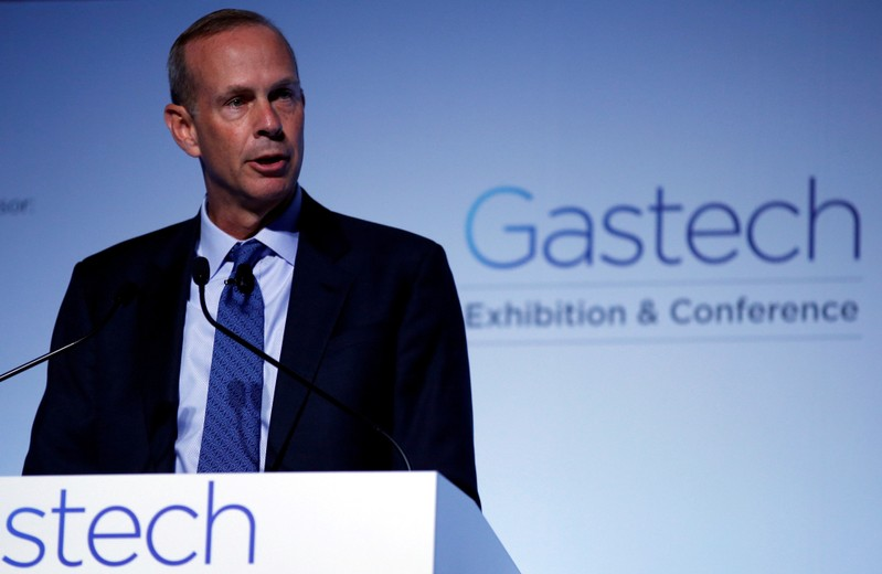 FILE PHOTO: Chevron's Michael Wirth speaks at Gastech, the world's biggest expo for the gas industry, in Chiba