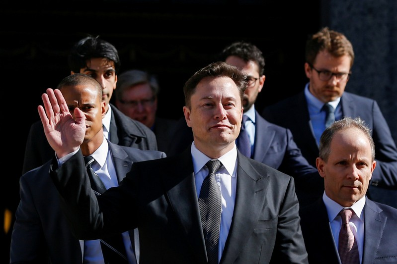 FILE PHOTO: Tesla Inc. CEO Musk xits after attending for an S.E.C. hearing at the Manhattan Federal Courthouse in New York