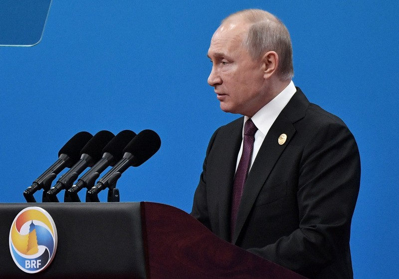 Russian President Vladimir Putin delivers a speech at the opening ceremony for the second Belt and Road Forum in Beijing