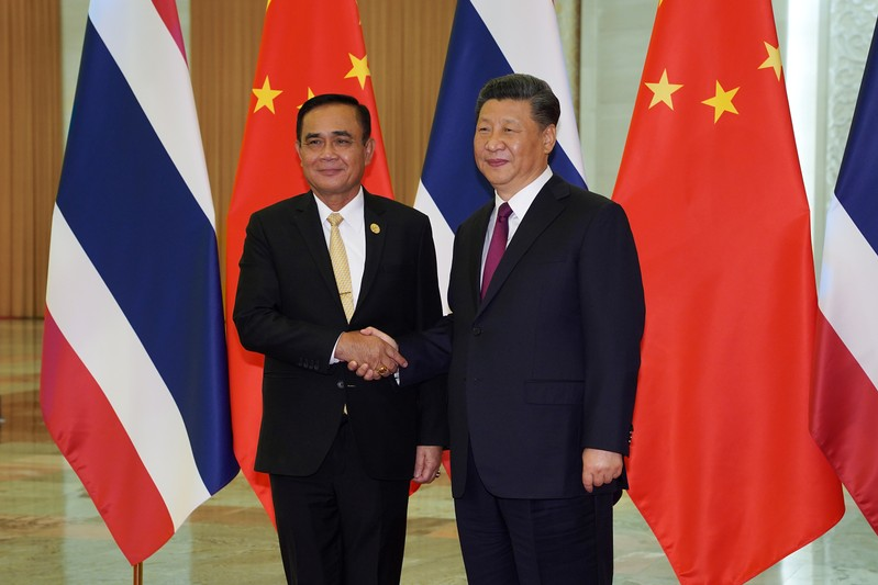 Chinese President Xi meets Thai Prime Minister Prayut at the Second Belt and Road Forum in Beijing