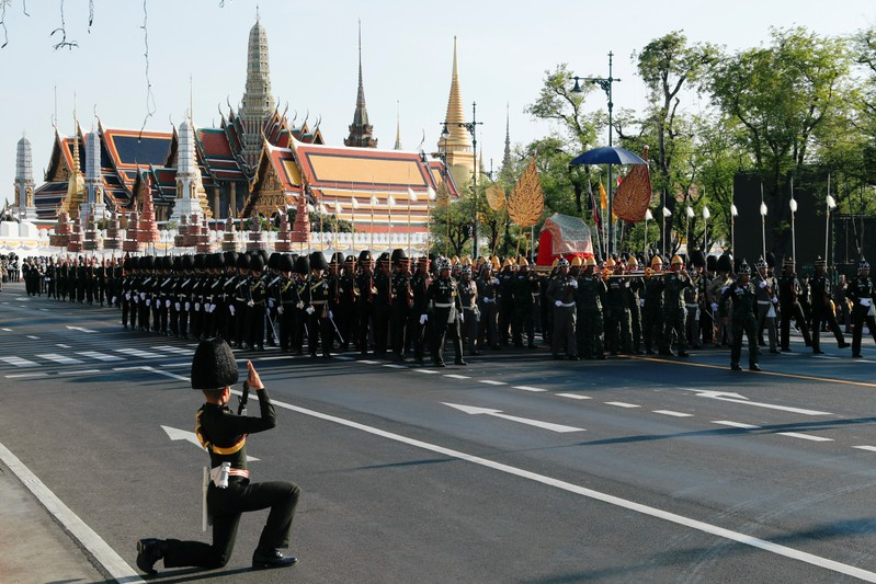 Thai soldiers take part in a rehearsal of Thailand's King Maha Vajiralongkorn coronation procession which will take place next week in Bangkok