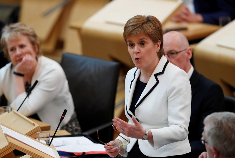 FILE PHOTO - Scotland's First Minister Nicola Sturgeon responds to questions in the Scottish Parliamentduring continued Brexit uncertainty in Edinburgh