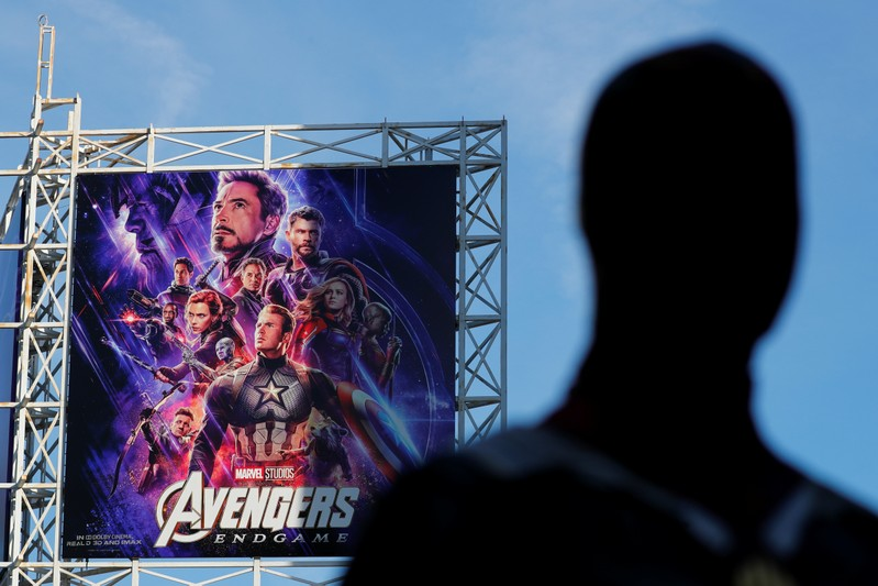 An Avengers fan in costume arrives at the TCL Chinese Theatre in Hollywood to attend the opening screening of