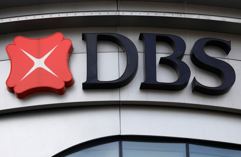 FILE PHOTO: A DBS bank signage is pictured in Singapore