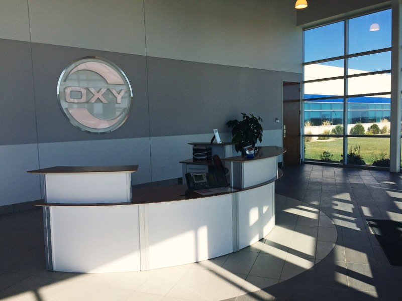 FILE PHOTO: The unstaffed lobby of the North Dakota regional headquarters of oil producer Occidental Petroleum Corp is seen in Dickinson