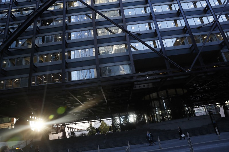 The sun is reflected off the windows of headquarter of the European Bank for Reconstruction and Development (EBRD) in central London