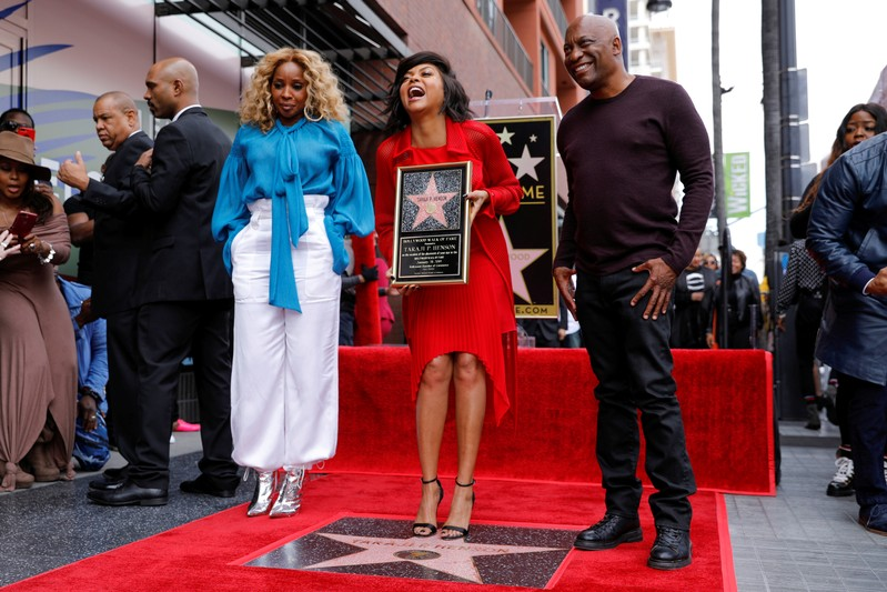 d2d3470facdd FILE PHOTO  Actor Taraji P. Henson poses with Mary J. Blige and director