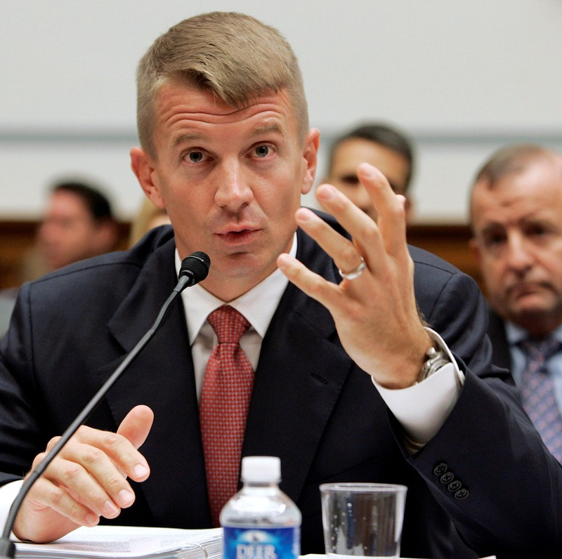 FILE PHOTO: Blackwater Chief Executive Erik Prince testifies before the House Oversight and Government Reform Committee on security contracting in Iraq and Afghanistan on Capitol Hill in Washington