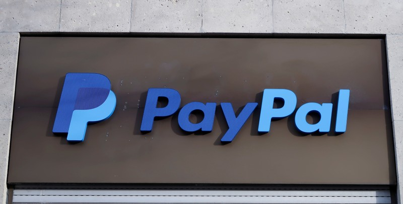 The PayPal logo is seen at an office building in Berlin