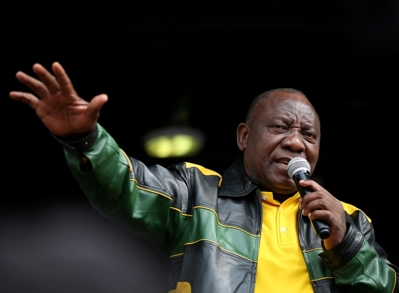 FILE PHOTO: South African President Ramaphosa addresses residents of Alexandra township in Johannesburg,