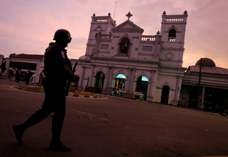 FILE PHOTO: Security officer guards outside St. Anthony's Shrine in Colombo