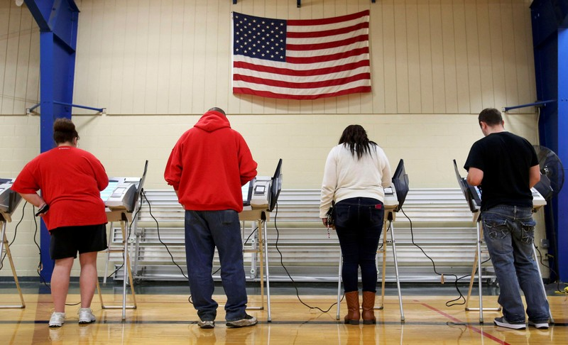 Voters cast their votes during the U.S. presidential election in Ohio