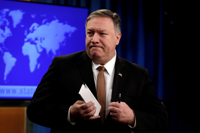 FILE PHOTO: U.S. Secretary of State Mike Pompeo leaves after a briefing on Iran at the State Department in Washington