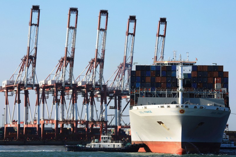 OOCL container ship is seen at a port in Qingdao