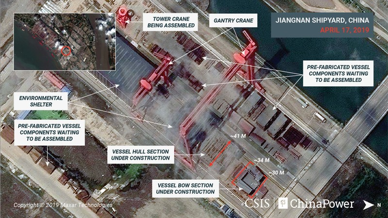 A satellite image shows what appears to be the construction of a third Chinese aircraft carrier at the Jiangnan Shipyard in Shanghai
