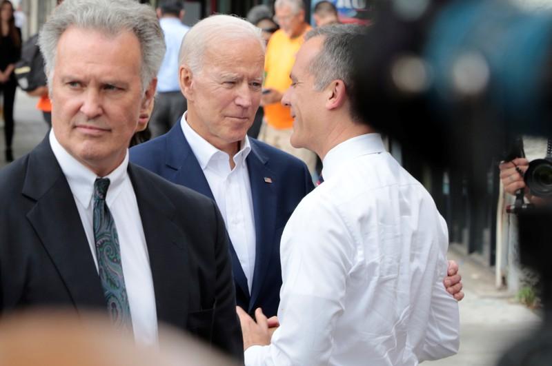 U.S. Democratic presidential candidate Biden joins Los Angeles Mayor Garcetti in Los Angeles