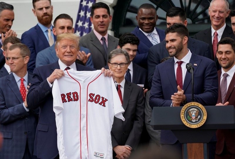 U.S. President Trump welcomes the Boston Red Sox at the White House in Washington