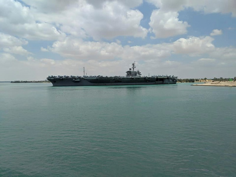 U.S. aircraft carrier the USS Abraham Lincoln is pictured while it travels through the Suez Canal in Egypt