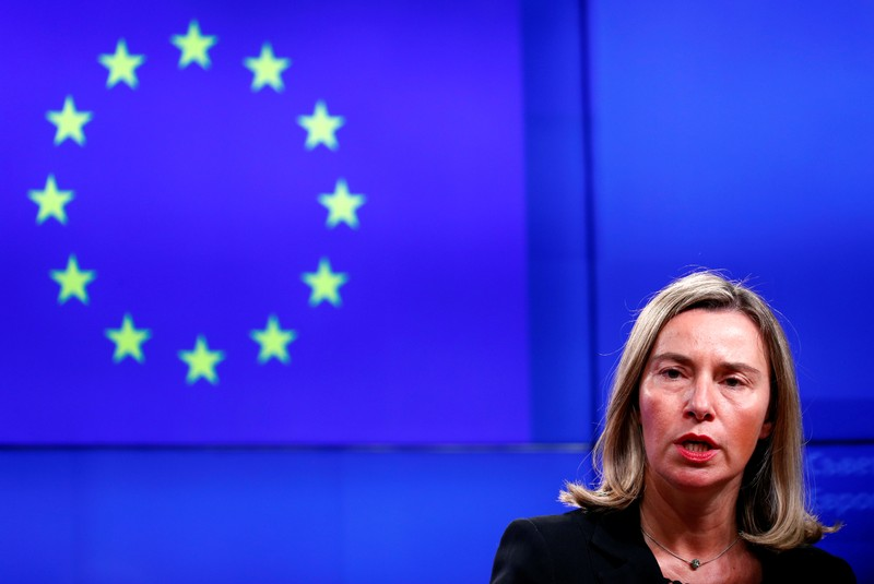 EU foreign policy chief Mogherini takes part in a news conference atfer a Turkey-EU Association Council in Brussels