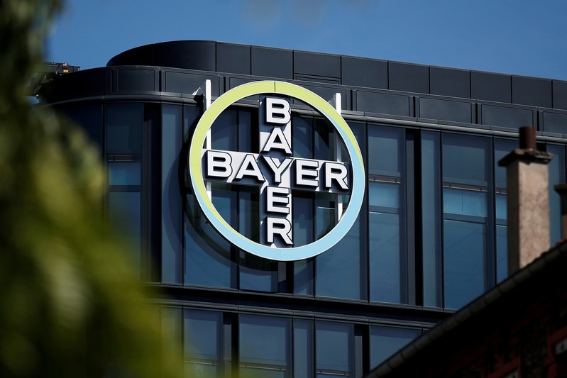 FILE PHOTO: The Bayer AG logo sits on display at the headquarters in La Garenne-Colombes, near Paris