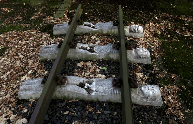 FILE PHOTO: Part of a memorial to the victims of forced labour under Nazi rule in Germany is seen at the former Buchenwald concentration camp site in Schwerte, Germany