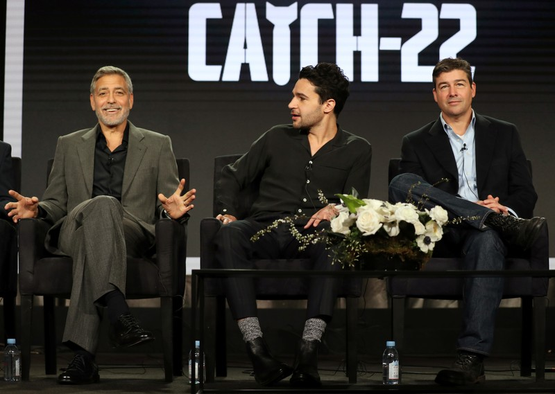 Actor, executive producer, and director George Clooney, actor Christopher Abbott, and actor Kyle Chandler speak on a panel for the Hulu series