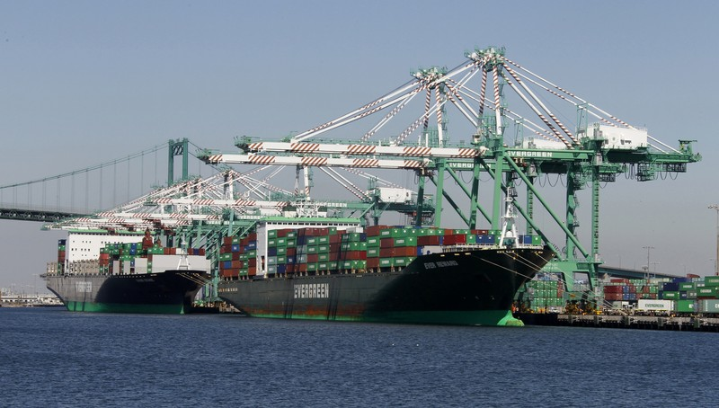 FILE PHOTO: Shipping containers are shown stacked on a container ship at the Port of Los Angeles