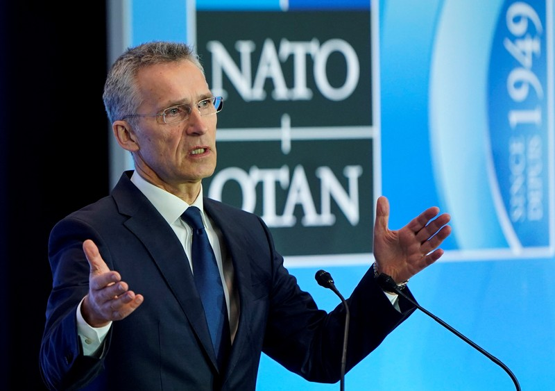 FILE PHOTO: NATO Secretary General Jens Stoltenberg speaks to the media during an alliance foreign minister's meeting in Washington