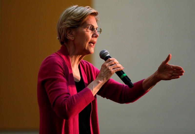 FILE PHOTO: Democratic 2020 U.S. presidential candidate and U.S. Senator Elizabeth Warren (D-MA) speaks during a townhall event in Columbus, Ohio