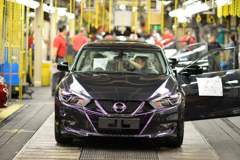 FILE PHOTO: A finished Nissan Altima comes off the line at Nissan Motor Co's automobile manufacturing plant in Smyrna Tennessee
