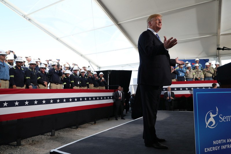 U.S. President Trump reacts to the crowd before speaking at Cameron LNG Export Facility in Hackberry, Louisiana