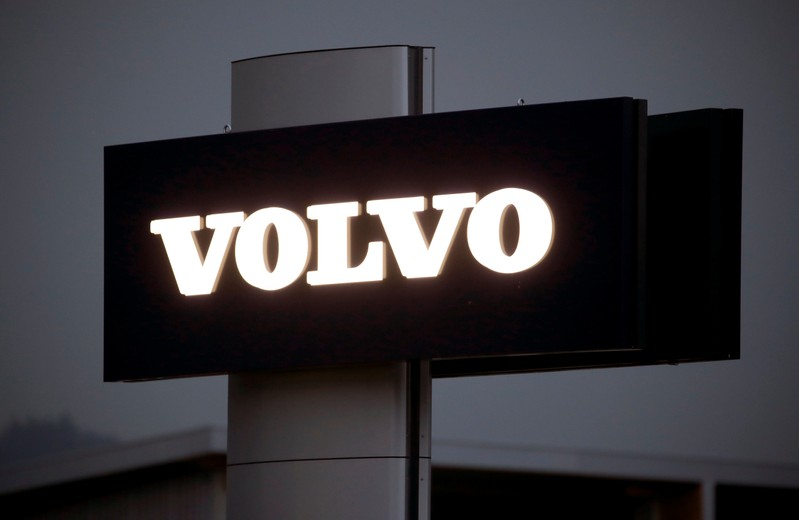 FILE PHOTO: Logo of Swedish automobile manufacturer Volvo is seen at Stierli Automobile AG company in St. Erhard