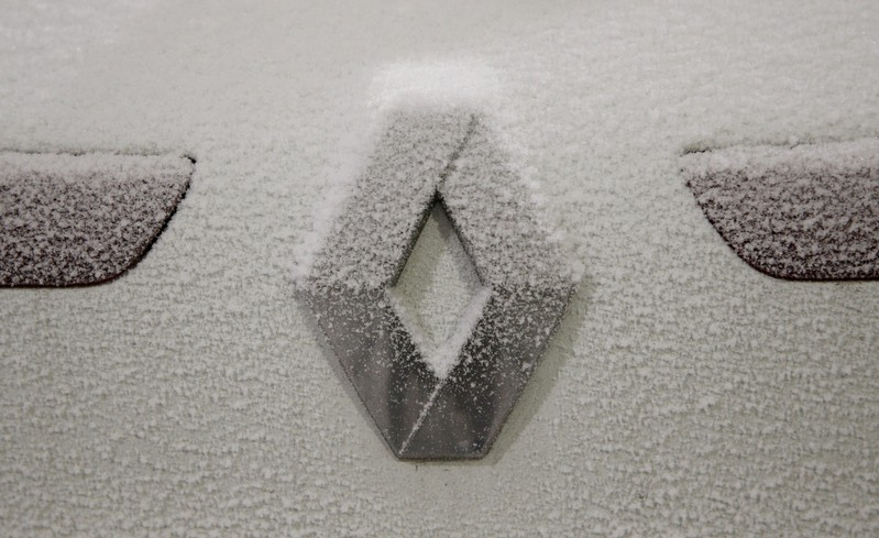 FILE PHOTO: The logo of French car manufacturer Renault is seen during a snow test at the Jules Verne climatic wind tunnel at the Scientific and Technical Center for Building (CSTB) research laboratory in Nantes