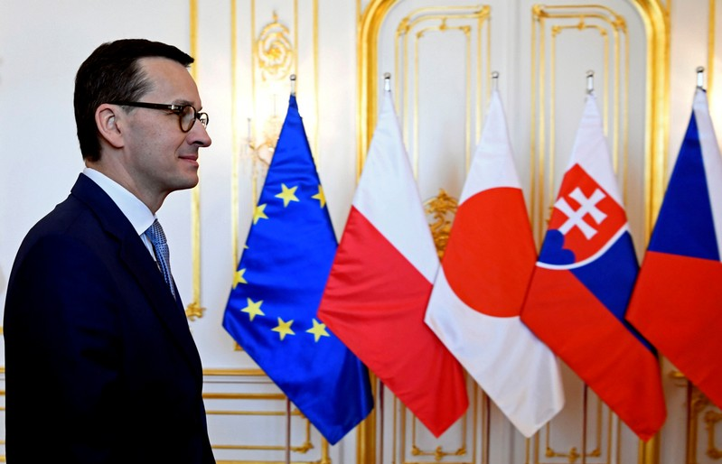 FILE PHOTO: Polish Prime Minister Mateusz Morawiecki arrives at a summit of the Visegrad Group of central European nations and Japan in Bratislava