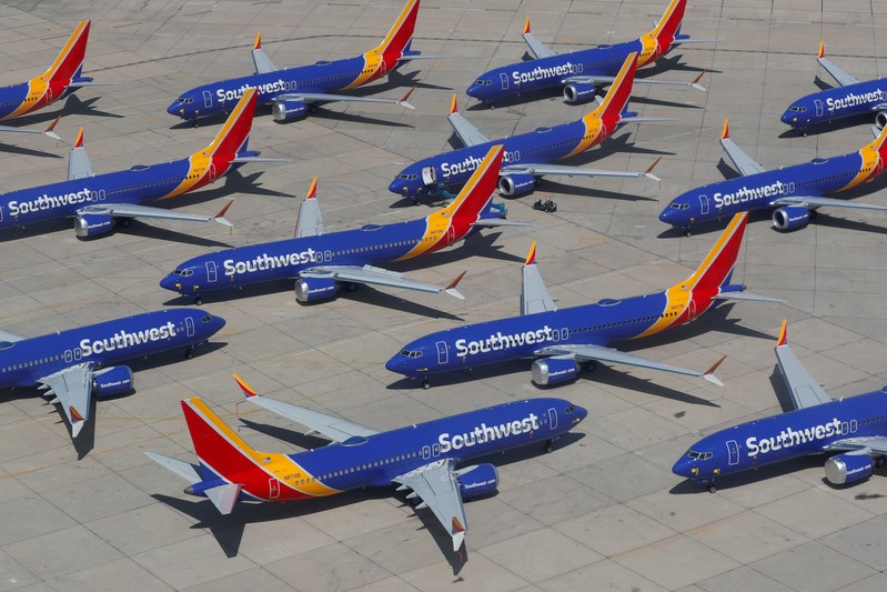 FILE PHOTO: A number of grounded Southwest Airlines Boeing 737 MAX 8 aircrafts are shown parked at Victorville Airport in Victorville, California
