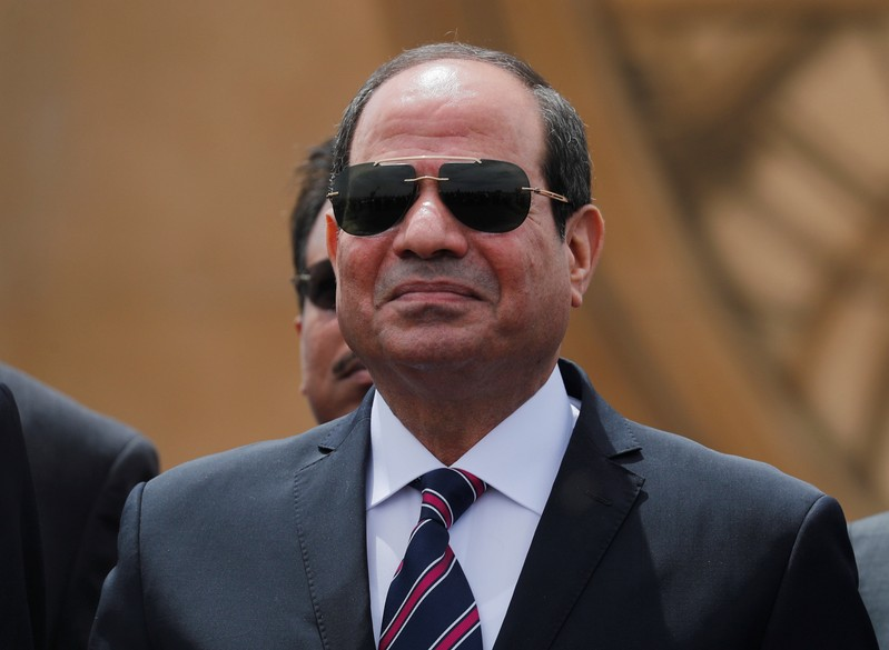 Egyptian President Abdel Fattah al-Sisi attends the opening ceremony of floating bridges and tunnel projects executed under the Suez Canal in Ismailia