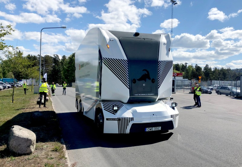 Swedish start-up Einride driverless electric truck is seen in Jonkoping