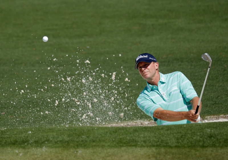 Steve Stricker of the U.S. practices for the 2017 Masters at Augusta National Golf Course in Augusta