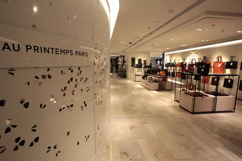 A view shows counters at the Printemps department store in a shopping district in Paris
