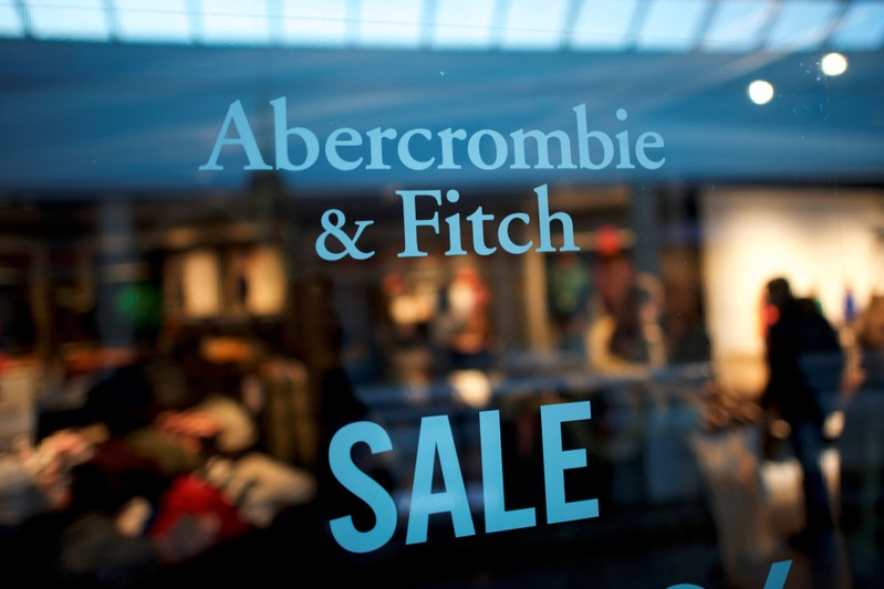 An Abercrombie & Fitch storefront sign states
