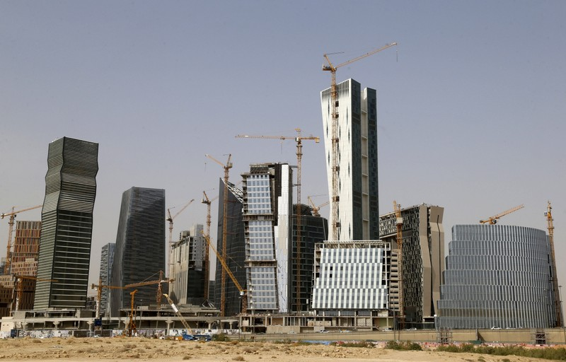 View shows the construction of the King Abdullah Financial District, in Riyadh