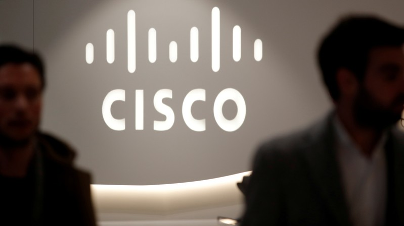 FILE PHOTO: The logo of US networks giant Cisco Systems is seen at their headquarters in Issy-les-Moulineaux, near Paris