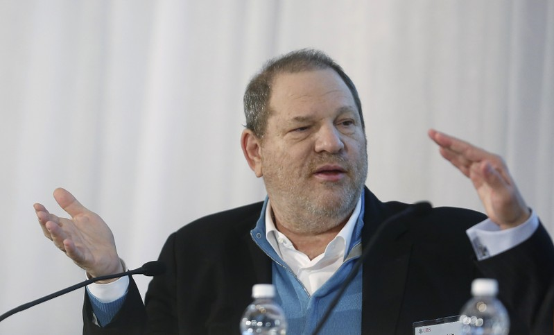 FILE PHOTO: Harvey Weinstein, Co-Chairman of The Weinstein Company, speaks at the UBS 40th Annual Global Media and Communications Conference in New York