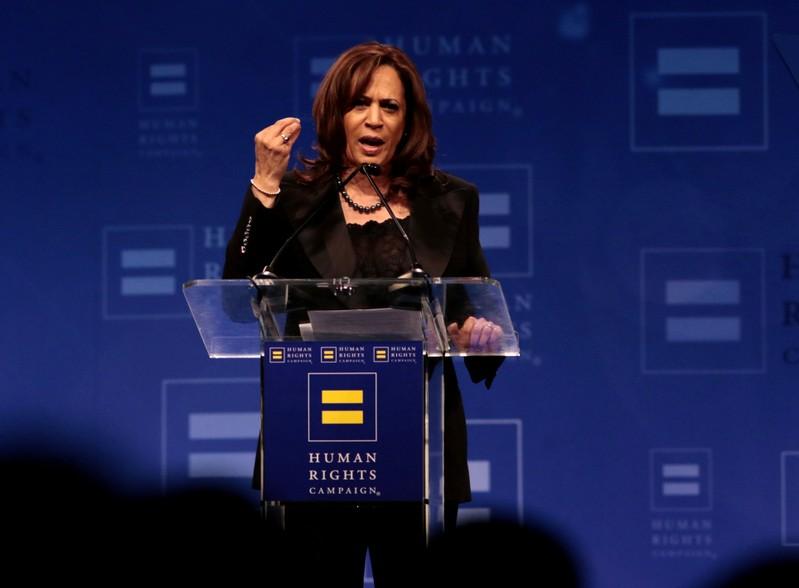 FILE PHOTO - U.S. Senator Kamala Harris (D-CA) addresses the Human Rights Campaign (HRC) dinner in Los Angeles