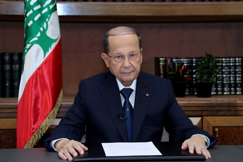 FILE PHOTO: Lebanese President Michel Aoun talks on the eve of the country's 75th independence day at the presidential palace in Baabda