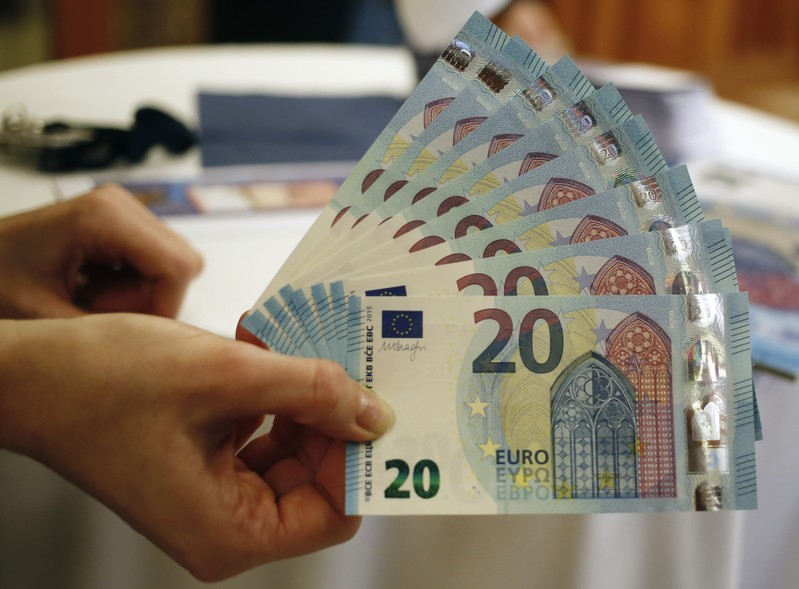 FILE PHOTO: New 20 Euro banknotes are presented at the Austrian national bank in Vienna