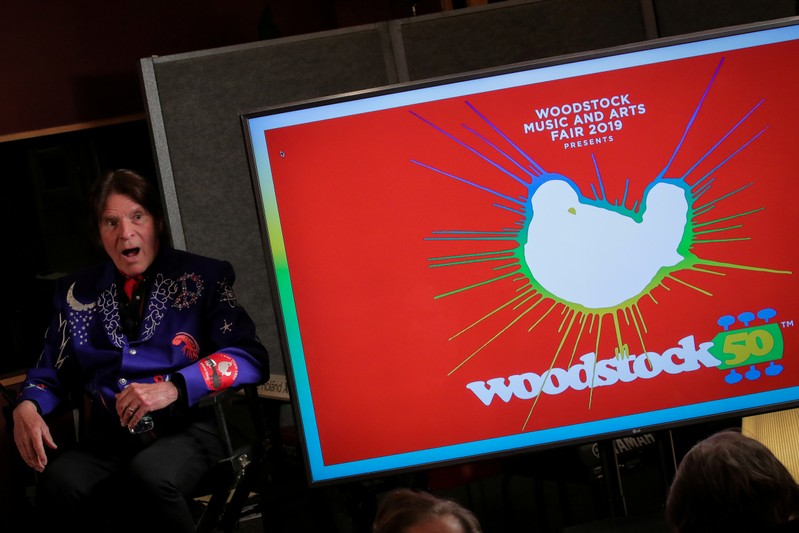 FILE PHOTO: Singer John Fogerty speaks during the announcement event for the lineup for the Woodstock 50th Anniversary concert in New York
