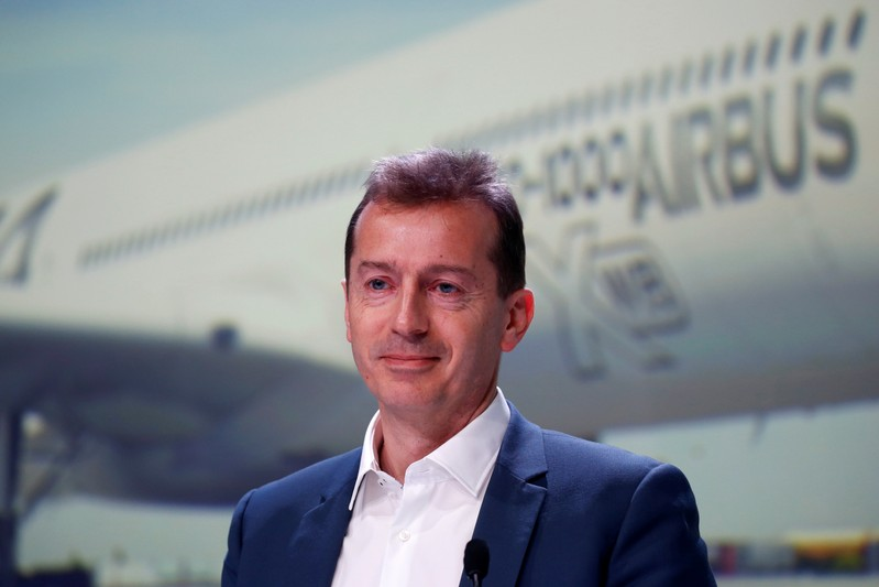 Guillaume Faury, President of Airbus Commercial Aircraft, poses during Airbus's annual press conference on Full-Year 2018 results in Blagnac